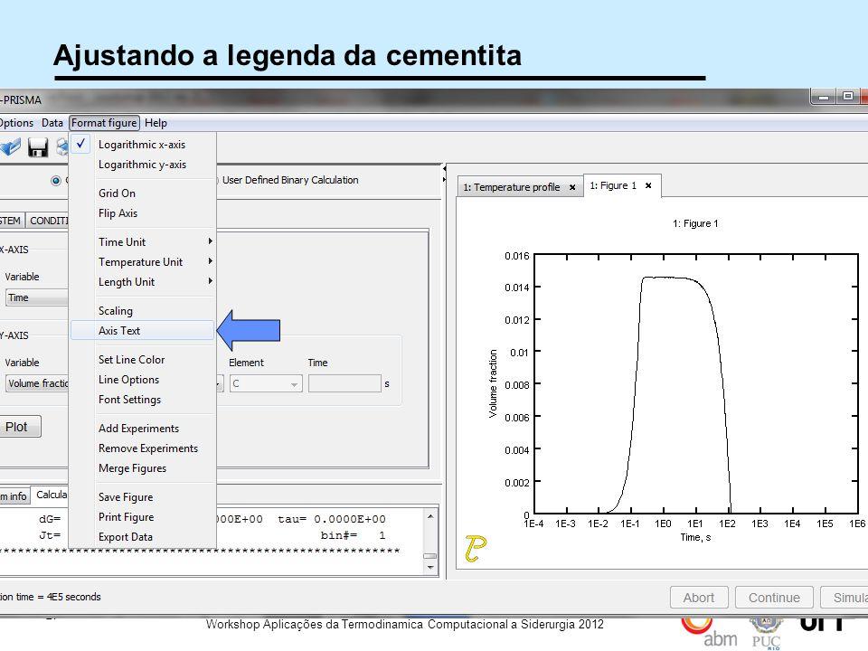 27 Workshop Aplicações da Termodinamica Computacional a Siderurgia 2012 Ajustando a legenda da cementita