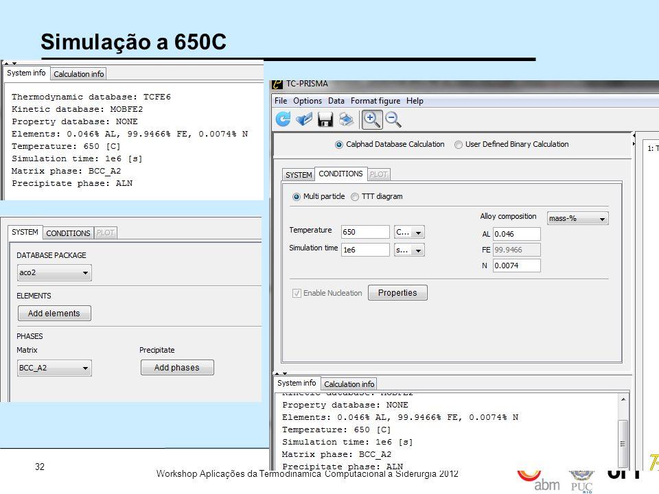32 Workshop Aplicações da Termodinamica Computacional a Siderurgia 2012 Simulação a 650C