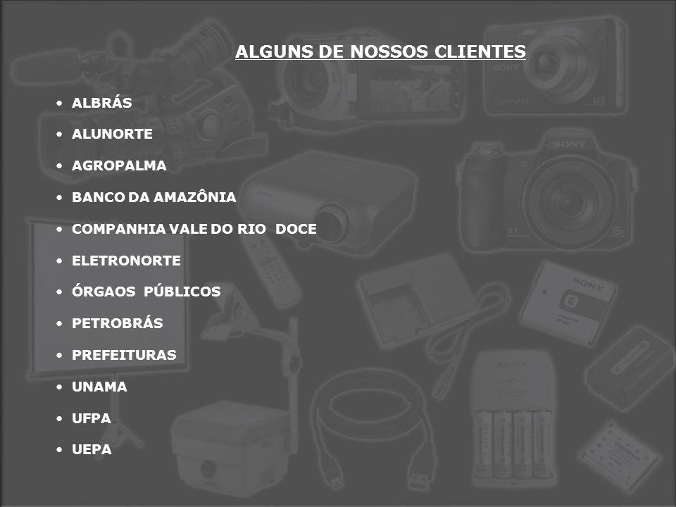 ALGUNS DE NOSSOS CLIENTES • ALBRÁS • ALUNORTE • AGROPALMA • BANCO DA AMAZÔNIA • COMPANHIA VALE DO RIO DOCE • ELETRONORTE • ÓRGAOS PÚBLICOS • PETROBRÁS • PREFEITURAS • UNAMA • UFPA • UEPA