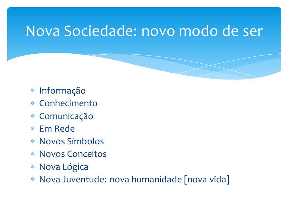  Informação  Conhecimento  Comunicação  Em Rede  Novos Símbolos  Novos Conceitos  Nova Lógica  Nova Juventude: nova humanidade [nova vida] Nov