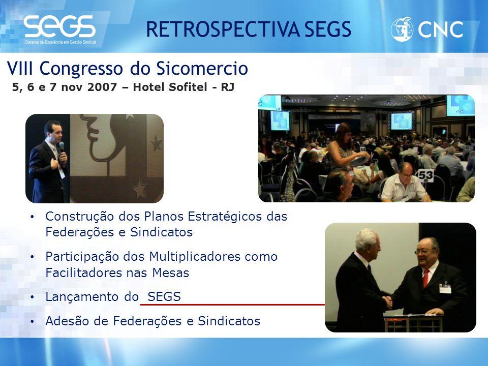 VIII Congresso do Sicomercio 5, 6 e 7 nov 2007 – Hotel Sofitel - RJ • Construção dos Planos Estratégicos das Federações e Sindicatos • Participação do