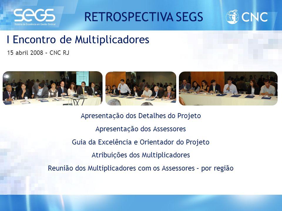 I Encontro de Multiplicadores 15 abril 2008 – CNC RJ Apresentação dos Detalhes do Projeto Apresentação dos Assessores Guia da Excelência e Orientador