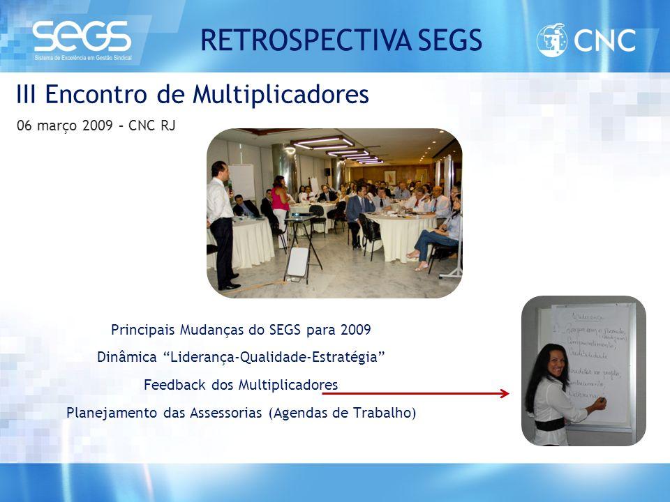 """Principais Mudanças do SEGS para 2009 Dinâmica """"Liderança-Qualidade-Estratégia"""" Feedback dos Multiplicadores Planejamento das Assessorias (Agendas de"""