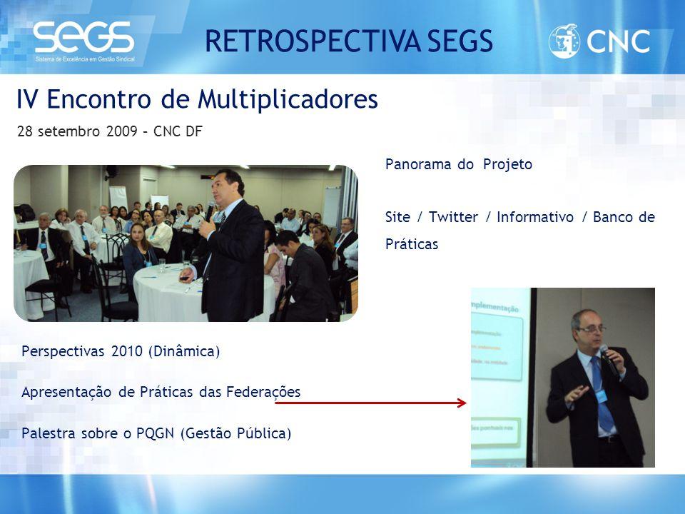 IV Encontro de Multiplicadores 28 setembro 2009 – CNC DF Perspectivas 2010 (Dinâmica) Apresentação de Práticas das Federações Palestra sobre o PQGN (G