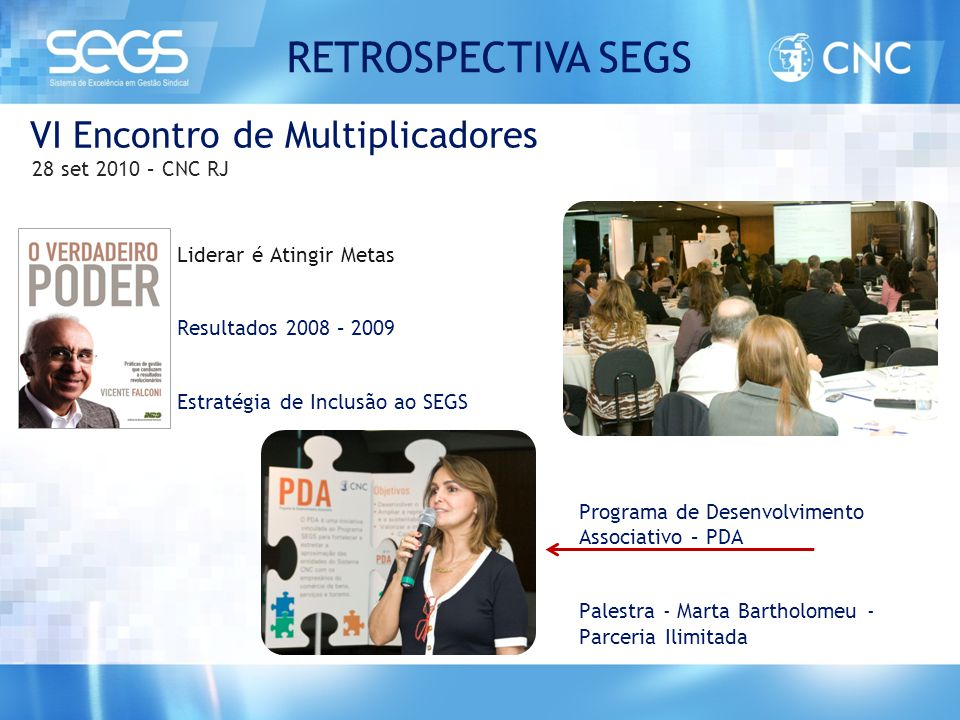 VI Encontro de Multiplicadores 28 set 2010 – CNC RJ Liderar é Atingir Metas Resultados 2008 – 2009 Estratégia de Inclusão ao SEGS Programa de Desenvol