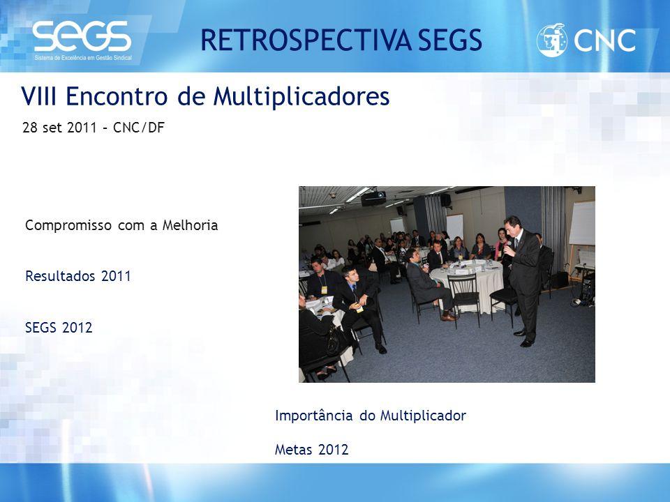 VIII Encontro de Multiplicadores 28 set 2011 – CNC/DF Compromisso com a Melhoria Resultados 2011 SEGS 2012 Importância do Multiplicador Metas 2012 RET