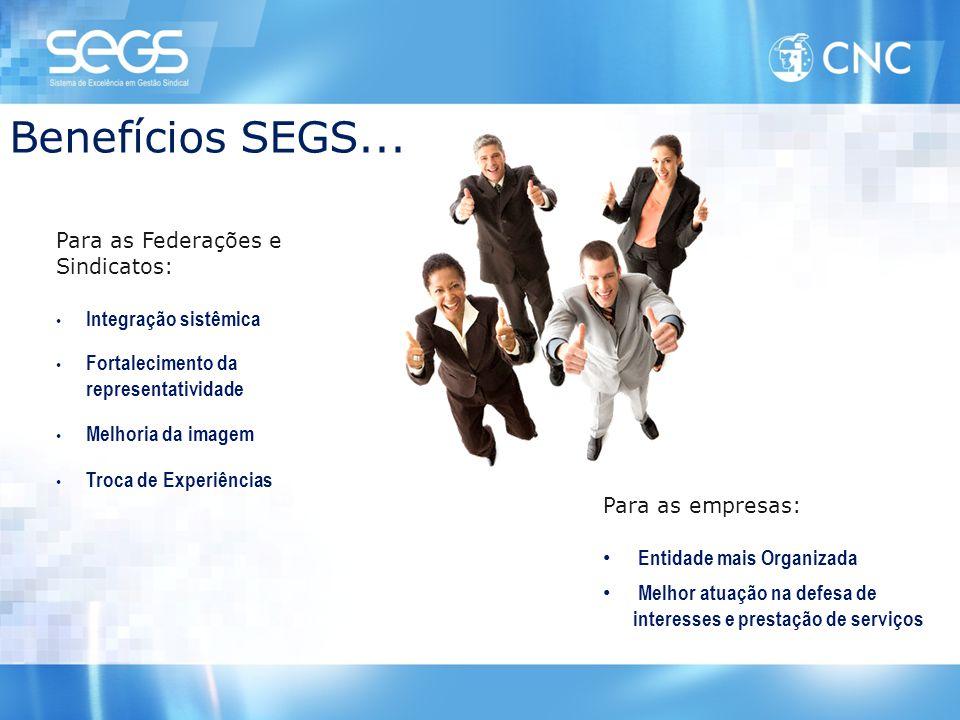 Benefícios SEGS... Para as Federações e Sindicatos: • Integração sistêmica • Fortalecimento da representatividade • Melhoria da imagem • Troca de Expe