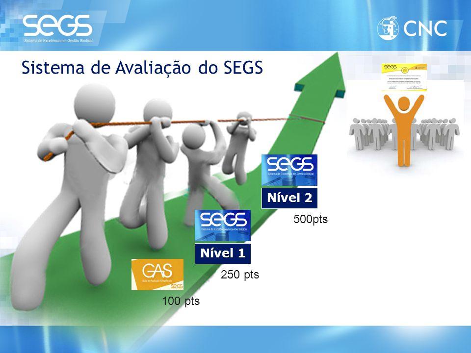 Nível 1 Nível 2 Sistema de Avaliação do SEGS 100 pts 250 pts 500pts