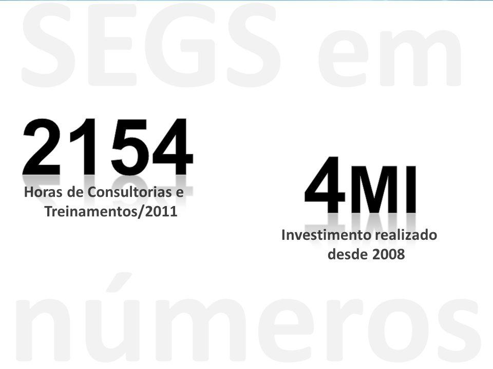 SEGS em números Horas de Consultorias e Treinamentos/2011 Investimento realizado desde 2008