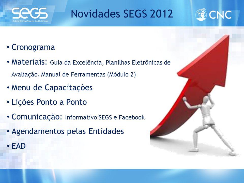Novidades SEGS 2012 • Cronograma • Materiais: Guia da Excelência, Planilhas Eletrônicas de Avaliação, Manual de Ferramentas (Módulo 2) • Menu de Capac