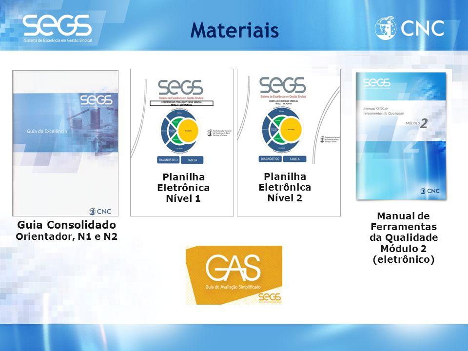 Materiais Planilha Eletrônica Nível 1 Planilha Eletrônica Nível 2 Guia Consolidado Orientador, N1 e N2 Manual de Ferramentas da Qualidade Módulo 2 (el