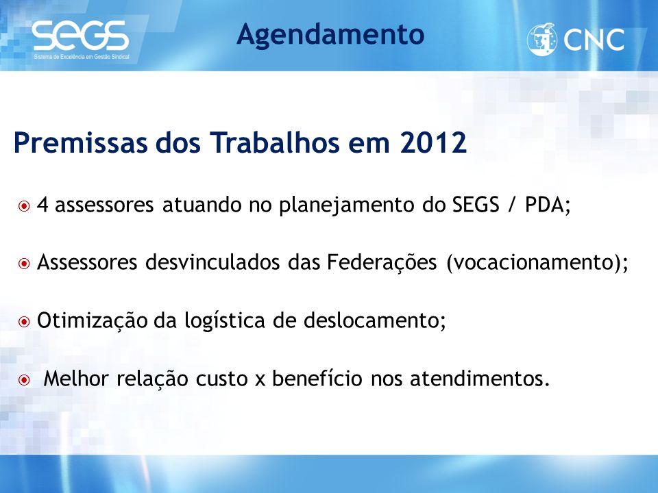  4 assessores atuando no planejamento do SEGS / PDA;  Assessores desvinculados das Federações (vocacionamento);  Otimização da logística de desloca
