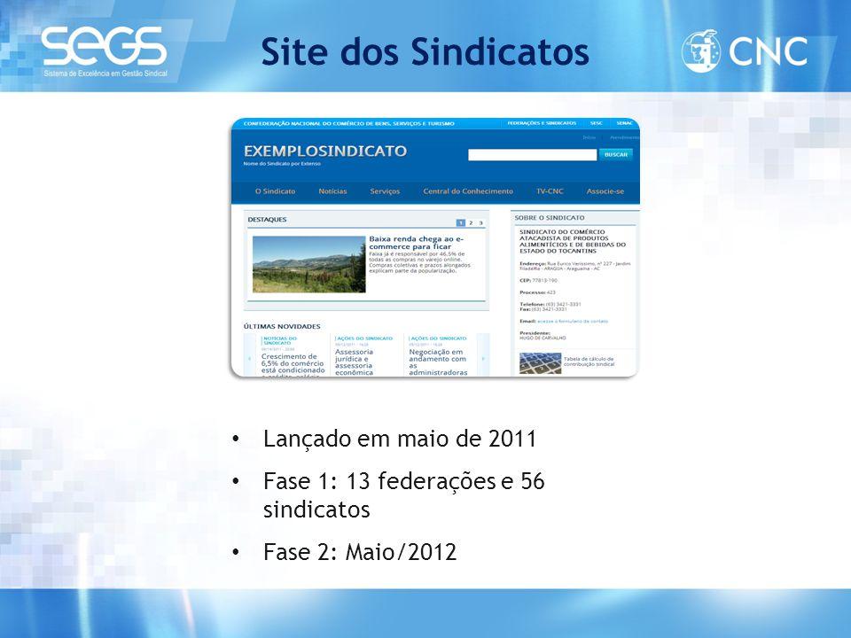 Site dos Sindicatos • Lançado em maio de 2011 • Fase 1: 13 federações e 56 sindicatos • Fase 2: Maio/2012