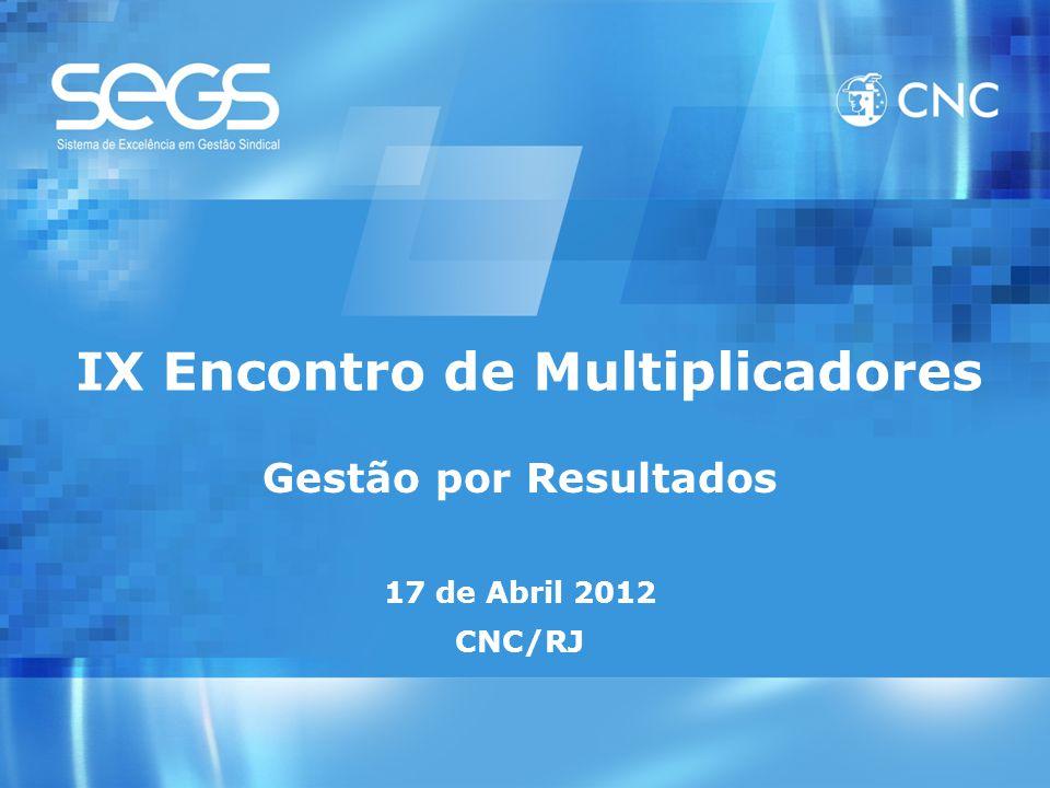 IX Encontro de Multiplicadores Gestão por Resultados 17 de Abril 2012 CNC/RJ