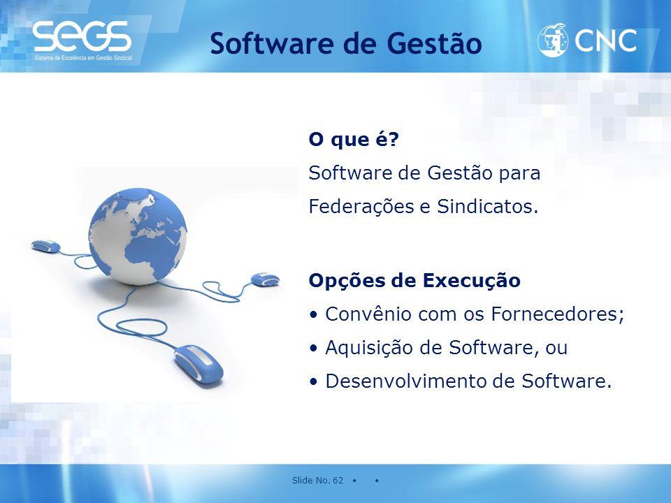 Slide No. 62 • • Software de Gestão O que é? Software de Gestão para Federações e Sindicatos. Opções de Execução • Convênio com os Fornecedores; • Aqu