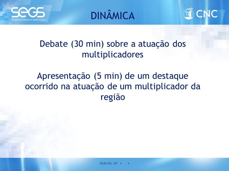 Slide No. 69 • • DINÂMICA Debate (30 min) sobre a atuação dos multiplicadores Apresentação (5 min) de um destaque ocorrido na atuação de um multiplica