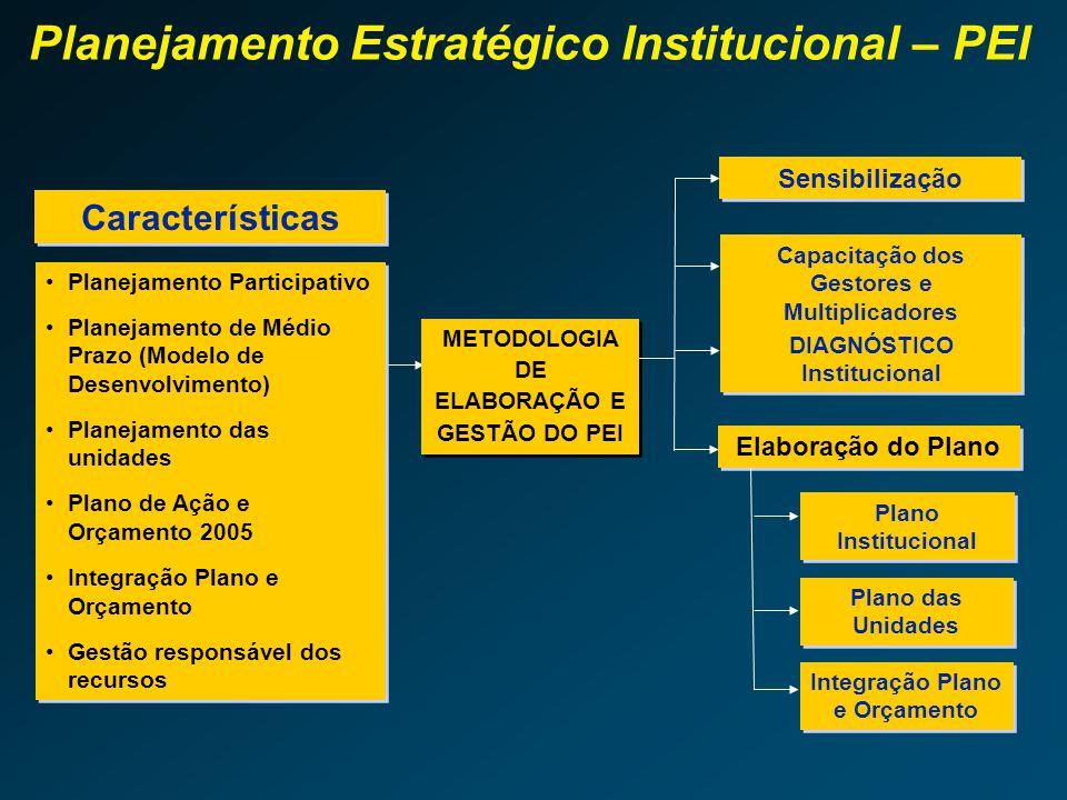 Os 4 anos do Plano Institucional compreendem, inclusive, o primeiro exercício financeiro da gestão subseqüente. É elaborado no primeiro ano de gestão