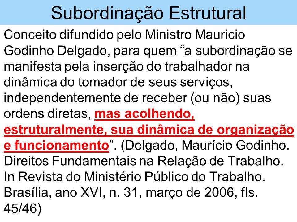 """Subordinação Estrutural •Conceito difundido pelo Ministro Mauricio Godinho Delgado, para quem """"a subordinação se manifesta pela inserção do trabalhado"""