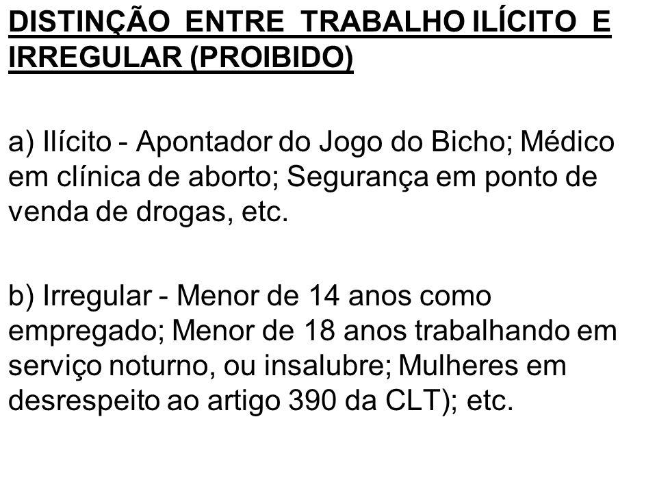 •DISTINÇÃO ENTRE TRABALHO ILÍCITO E IRREGULAR (PROIBIDO) •a) Ilícito - Apontador do Jogo do Bicho; Médico em clínica de aborto; Segurança em ponto de