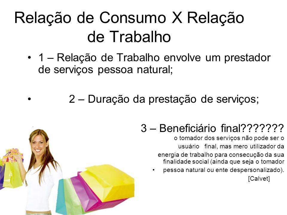 Relação de Consumo X Relação de Trabalho •1 – Relação de Trabalho envolve um prestador de serviços pessoa natural; • 2 – Duração da prestação de servi