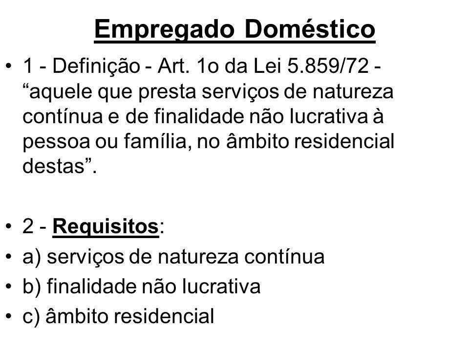 """Empregado Doméstico •1 - Definição - Art. 1o da Lei 5.859/72 - """"aquele que presta serviços de natureza contínua e de finalidade não lucrativa à pessoa"""