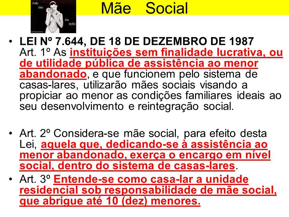 Mãe Social •LEI Nº 7.644, DE 18 DE DEZEMBRO DE 1987 Art. 1º As instituições sem finalidade lucrativa, ou de utilidade pública de assistência ao menor