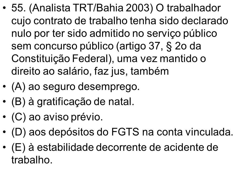 •55. (Analista TRT/Bahia 2003) O trabalhador cujo contrato de trabalho tenha sido declarado nulo por ter sido admitido no serviço público sem concurso