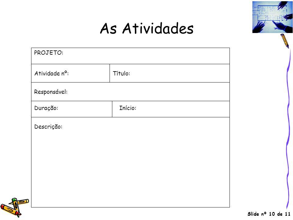Slide nº 10 de 11 As Atividades PROJETO: Atividade nº: Responsável: Duração: Descrição: Título: Início: