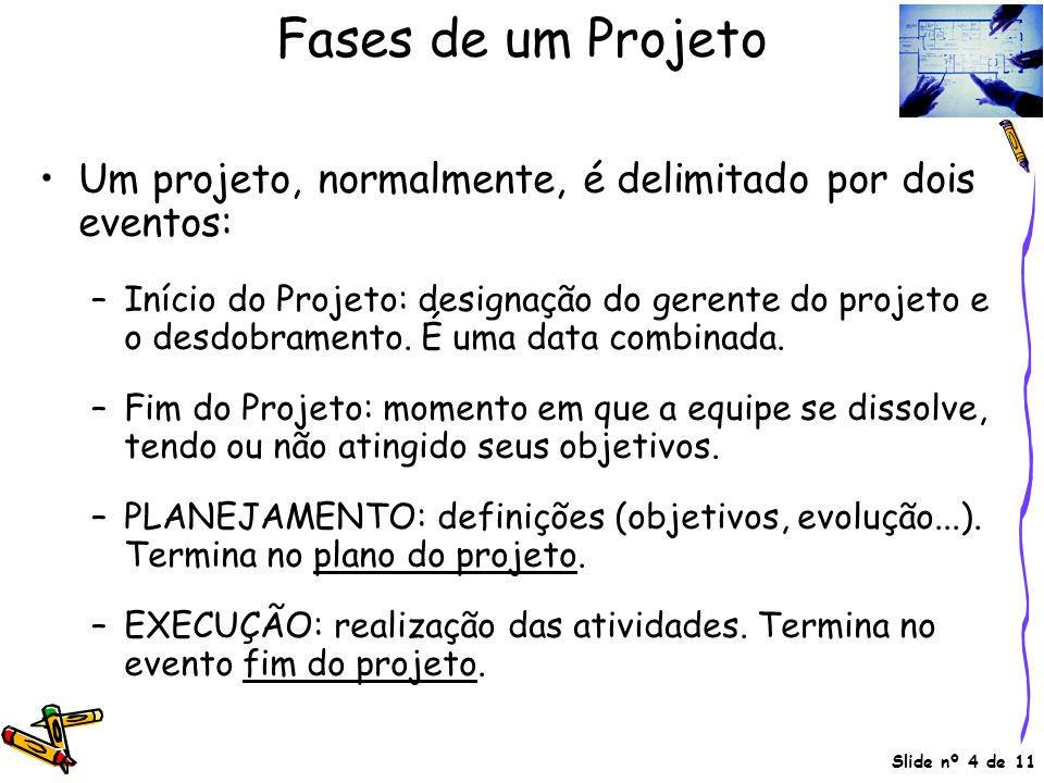 Slide nº 4 de 11 Fases de um Projeto •Um projeto, normalmente, é delimitado por dois eventos: –Início do Projeto: designação do gerente do projeto e o desdobramento.