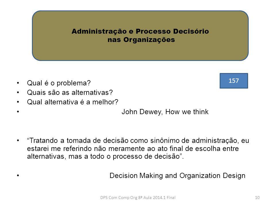 """•Qual é o problema? •Quais são as alternativas? •Qual alternativa é a melhor? • John Dewey, How we think •""""Tratando a tomada de decisão como sinônimo"""