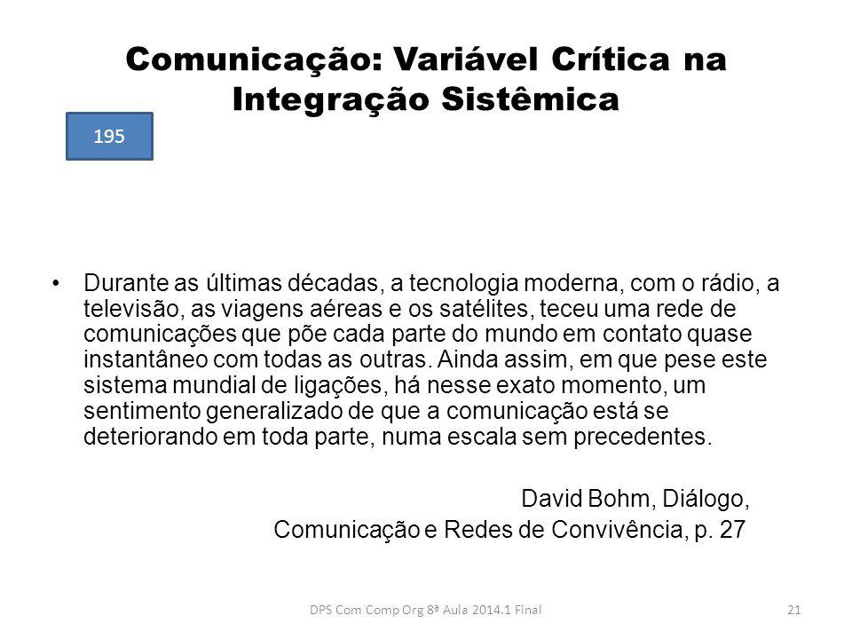 Comunicação: Variável Crítica na Integração Sistêmica •Durante as últimas décadas, a tecnologia moderna, com o rádio, a televisão, as viagens aéreas e