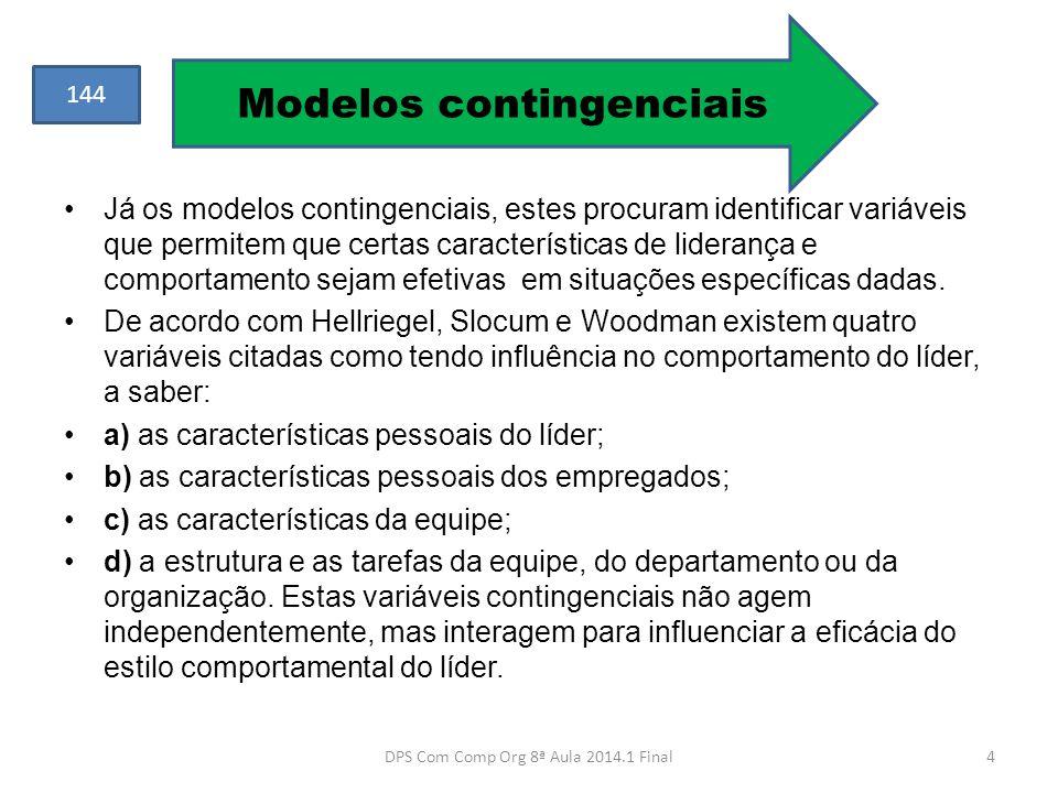 •Já os modelos contingenciais, estes procuram identificar variáveis que permitem que certas características de liderança e comportamento sejam efetiva