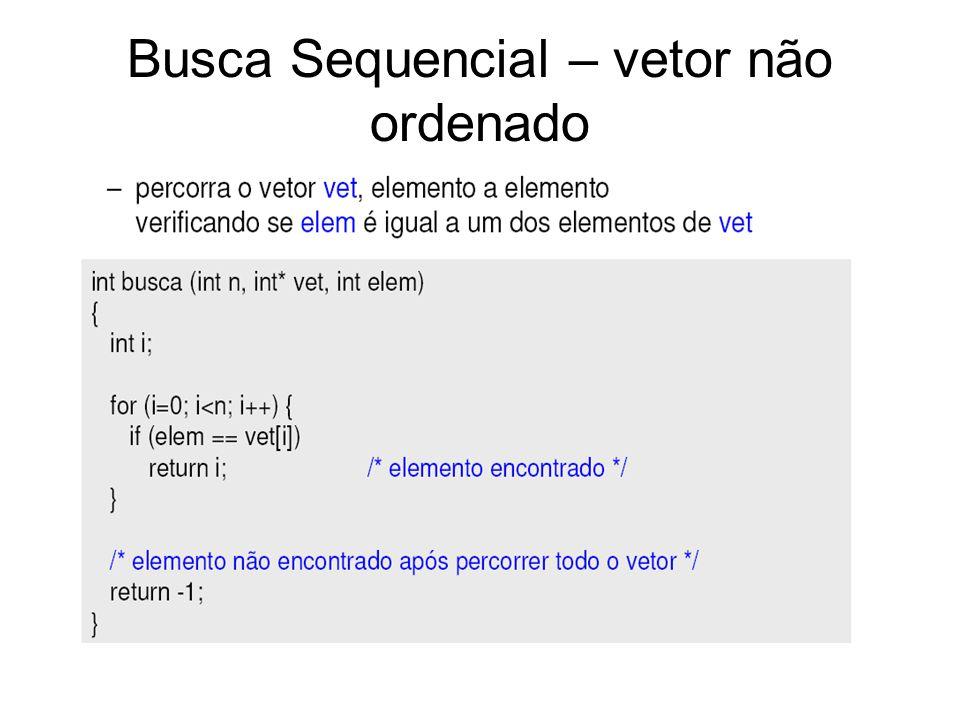Busca Sequencial – vetor não ordenado