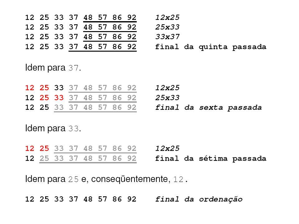 Busca Sequencial em Vetor Ordenado int busca_ord(int n, int *vet, int elem) { if (elem vet[n-1]) // teste extremos do vetor return -1; // elemento não está no vetor i = 0; while (vet[i] < elem) i ++; if ( vet[i] == elem) // encontrou o elemento return i; // na posição i else return -1; // elemento não está no vetor }