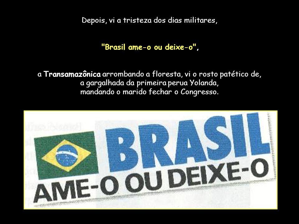 Era o Castelo Branco e senti que surgia ali um outro Brasil desconhecido e, aí, eu vi as pedras, os anúncios, os ônibus, os postes, o meio- fio, os pn