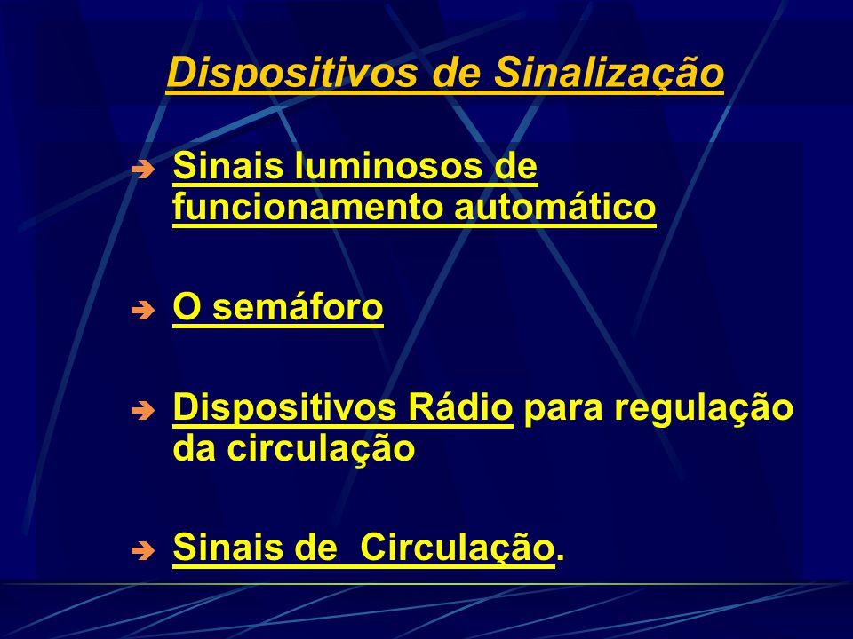 Dispositivos de Sinalização  Sinais luminosos de funcionamento automático  O semáforo  Dispositivos Rádio para regulação da circulação  Sinais de Circulação.