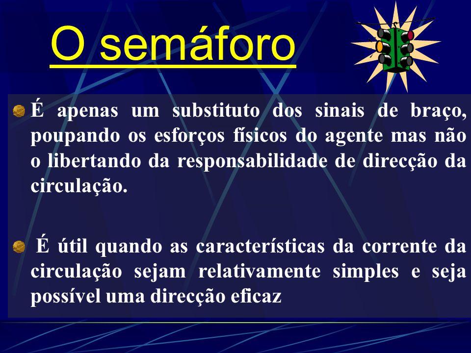 O semáforo É apenas um substituto dos sinais de braço, poupando os esforços físicos do agente mas não o libertando da responsabilidade de direcção da circulação.