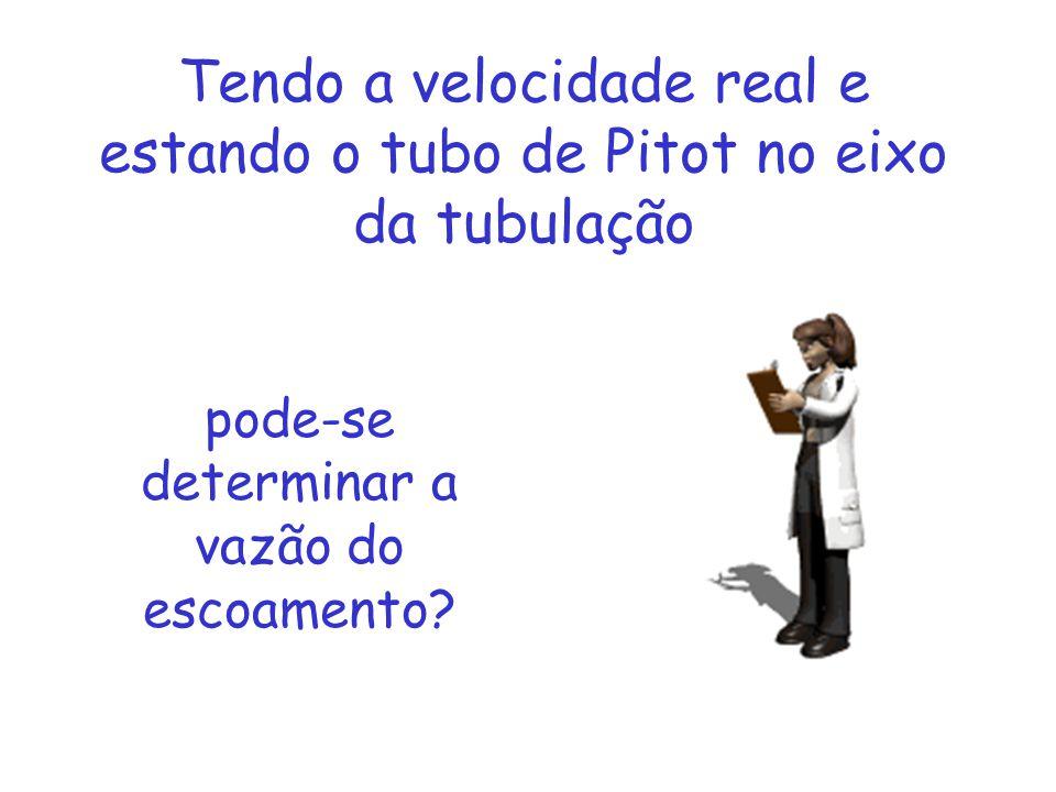 Tendo a velocidade real e estando o tubo de Pitot no eixo da tubulação pode-se determinar a vazão do escoamento?