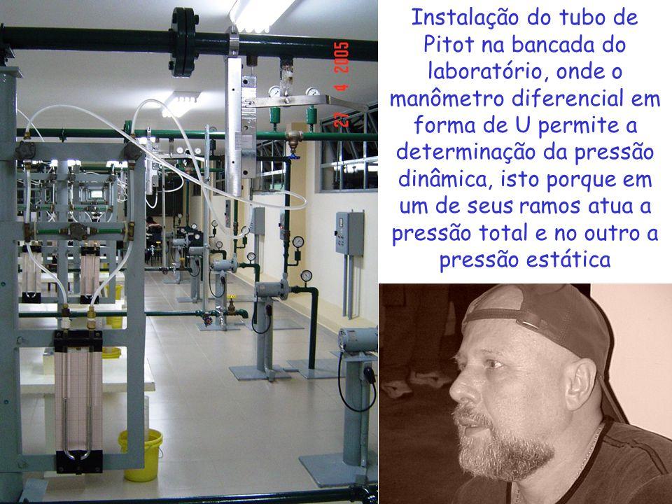 Instalação do tubo de Pitot na bancada do laboratório, onde o manômetro diferencial em forma de U permite a determinação da pressão dinâmica, isto por