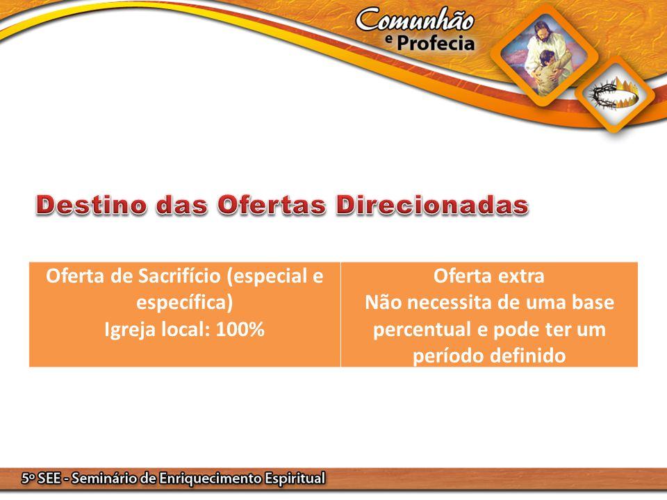 Oferta de Sacrifício (especial e específica) Igreja local: 100% Oferta extra Não necessita de uma base percentual e pode ter um período definido