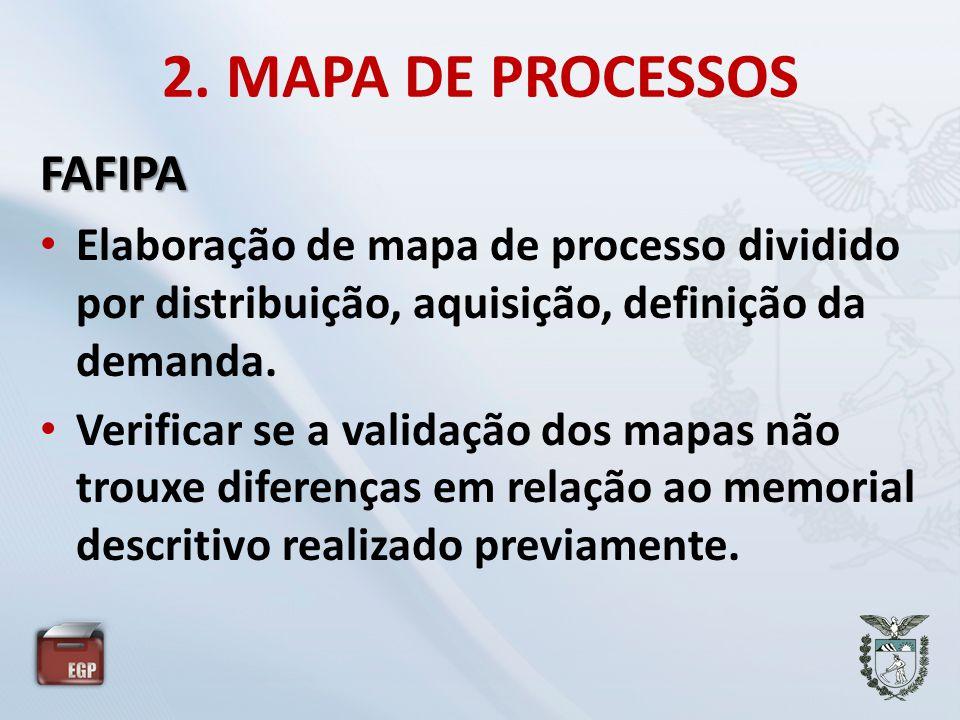 2. MAPA DE PROCESSOS FAFIPA • Elaboração de mapa de processo dividido por distribuição, aquisição, definição da demanda. • Verificar se a validação do