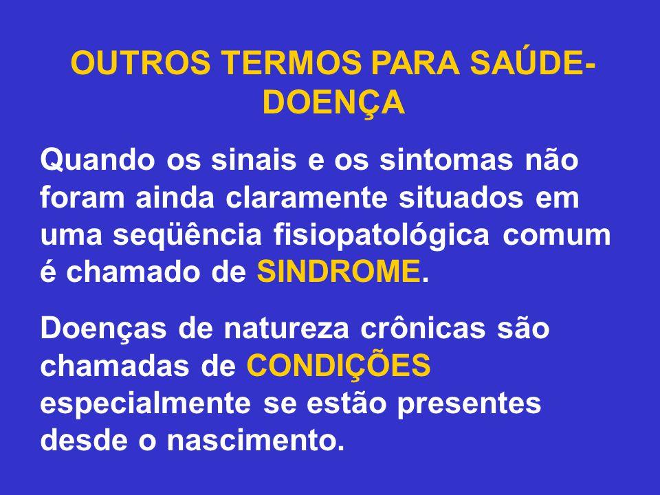 OUTROS TERMOS PARA SAÚDE- DOENÇA Quando os sinais e os sintomas não foram ainda claramente situados em uma seqüência fisiopatológica comum é chamado d