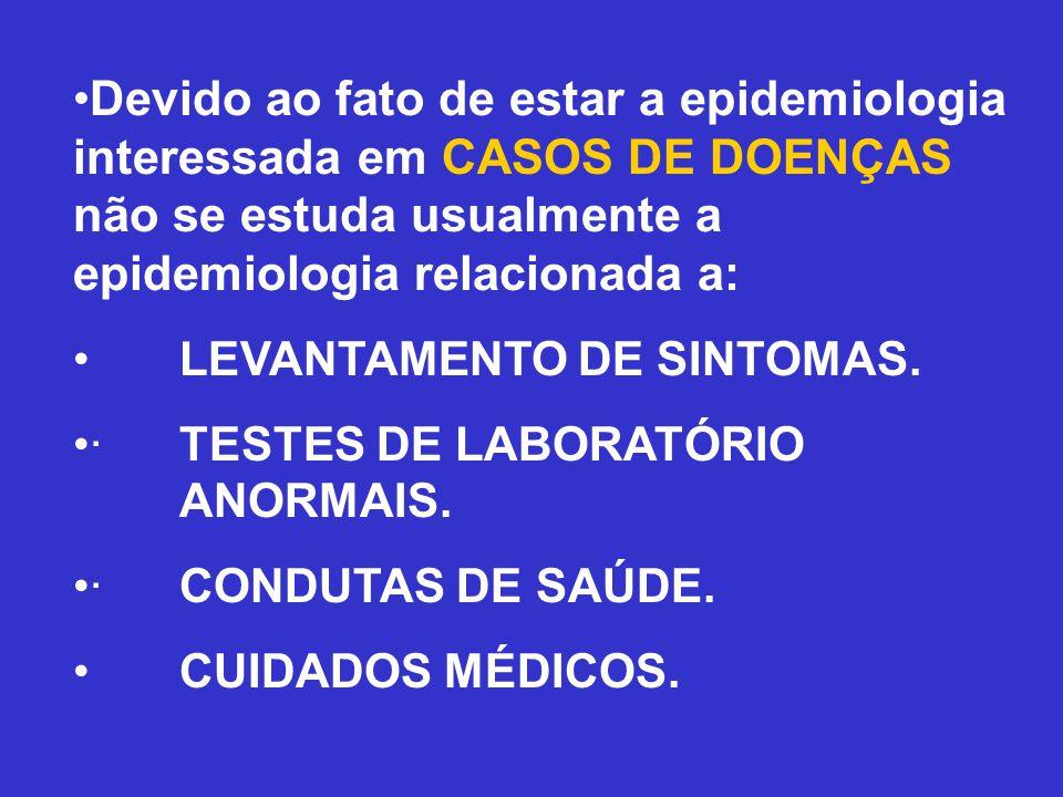 •Devido ao fato de estar a epidemiologia interessada em CASOS DE DOENÇAS não se estuda usualmente a epidemiologia relacionada a: •LEVANTAMENTO DE SINT
