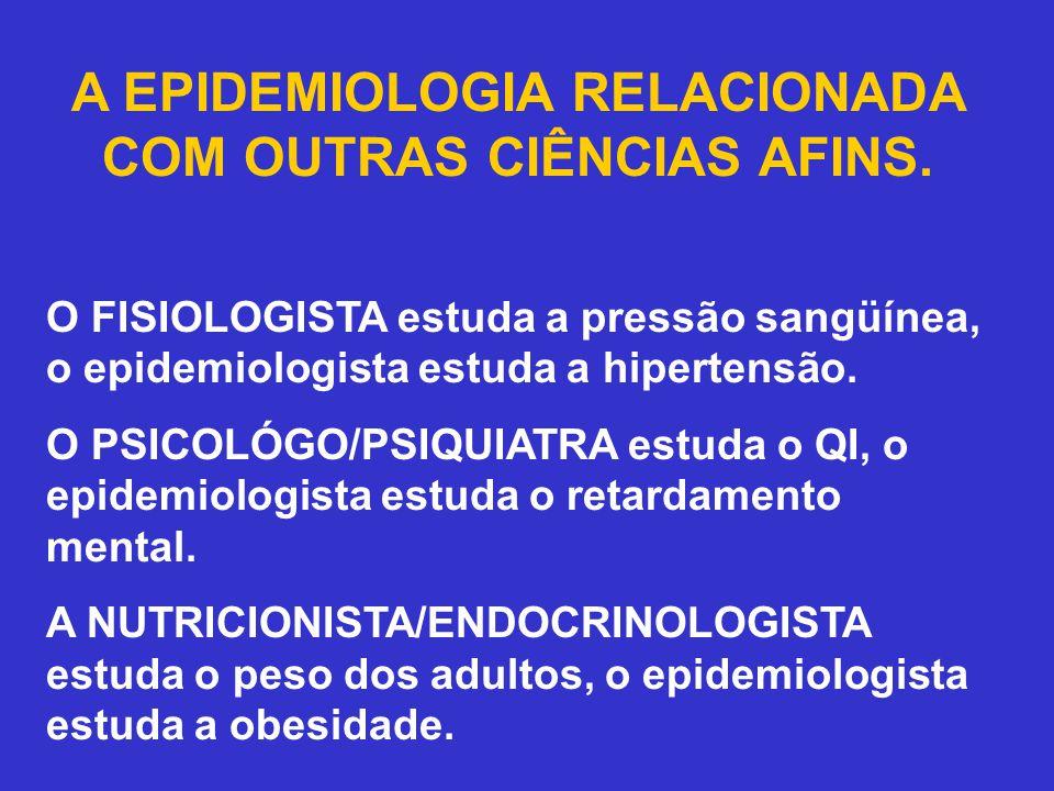 A EPIDEMIOLOGIA RELACIONADA COM OUTRAS CIÊNCIAS AFINS. O FISIOLOGISTA estuda a pressão sangüínea, o epidemiologista estuda a hipertensão. O PSICOLÓGO/