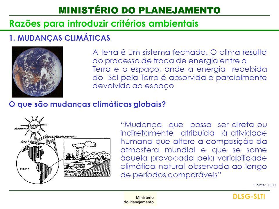 MINISTÉRIO DO PLANEJAMENTO Razões para introduzir critérios ambientais 1. MUDANÇAS CLIMÁTICAS A terra é um sistema fechado. O clima resulta do process