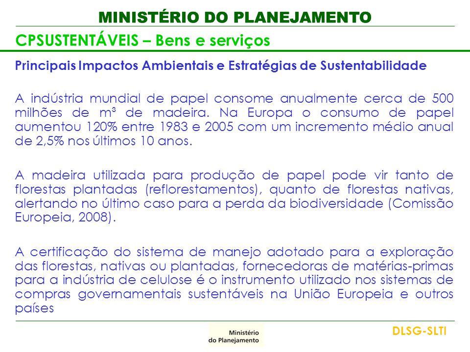 MINISTÉRIO DO PLANEJAMENTO CPSUSTENTÁVEIS – Bens e serviços Principais Impactos Ambientais e Estratégias de Sustentabilidade A indústria mundial de pa
