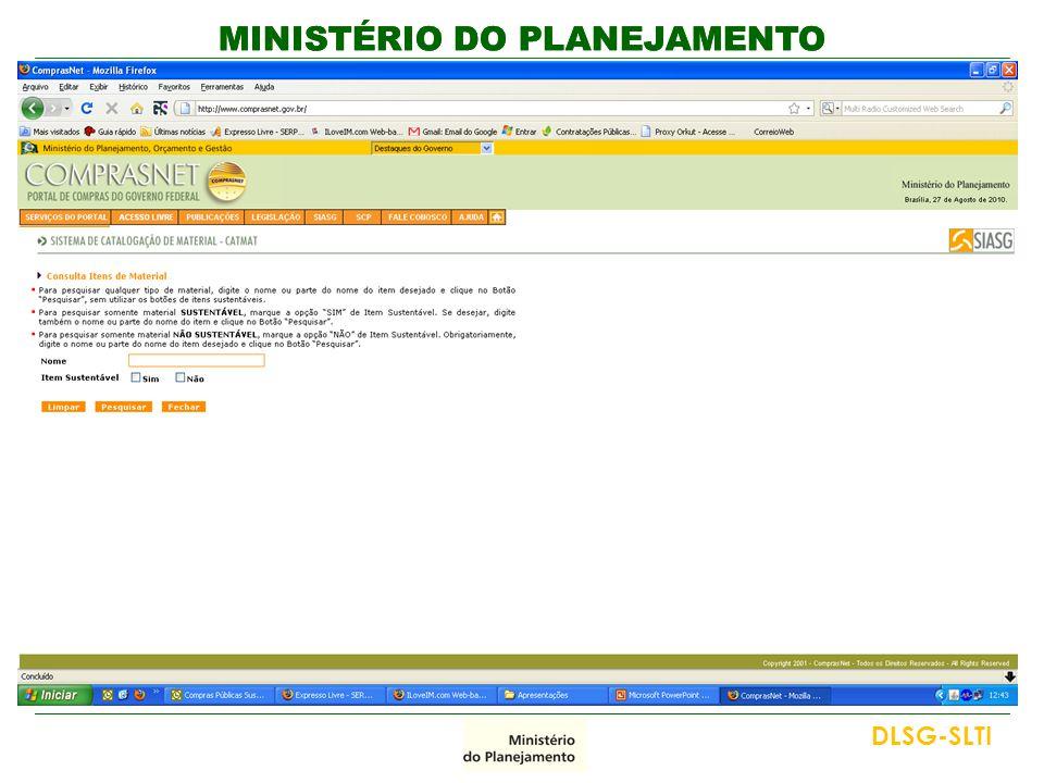 MINISTÉRIO DO PLANEJAMENTO DLSG-SLTI