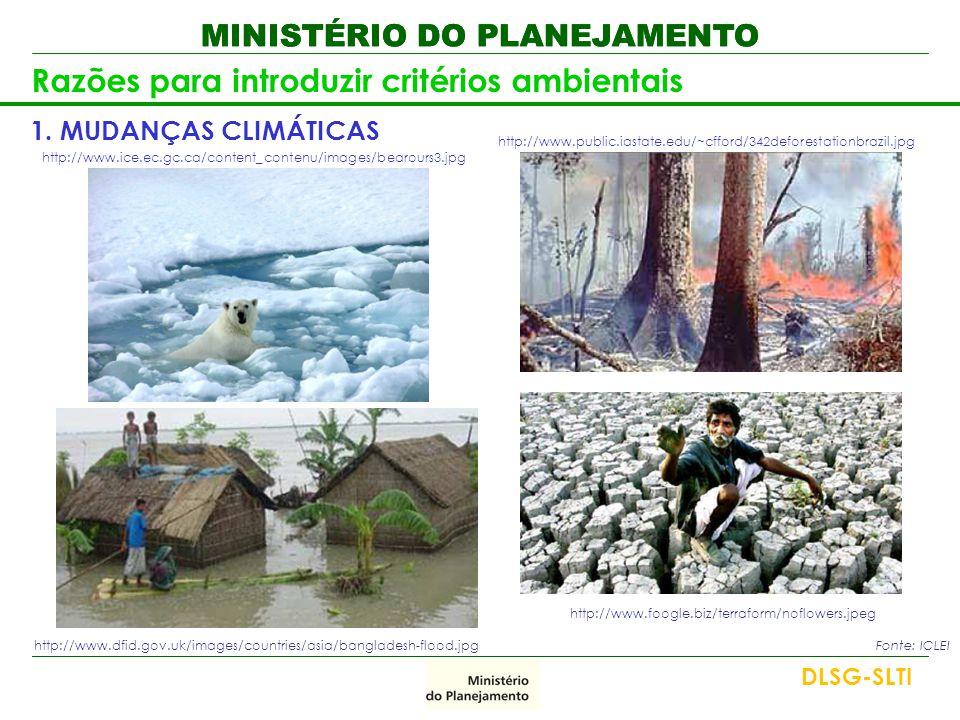 MINISTÉRIO DO PLANEJAMENTO Razões para introduzir critérios ambientais 1.