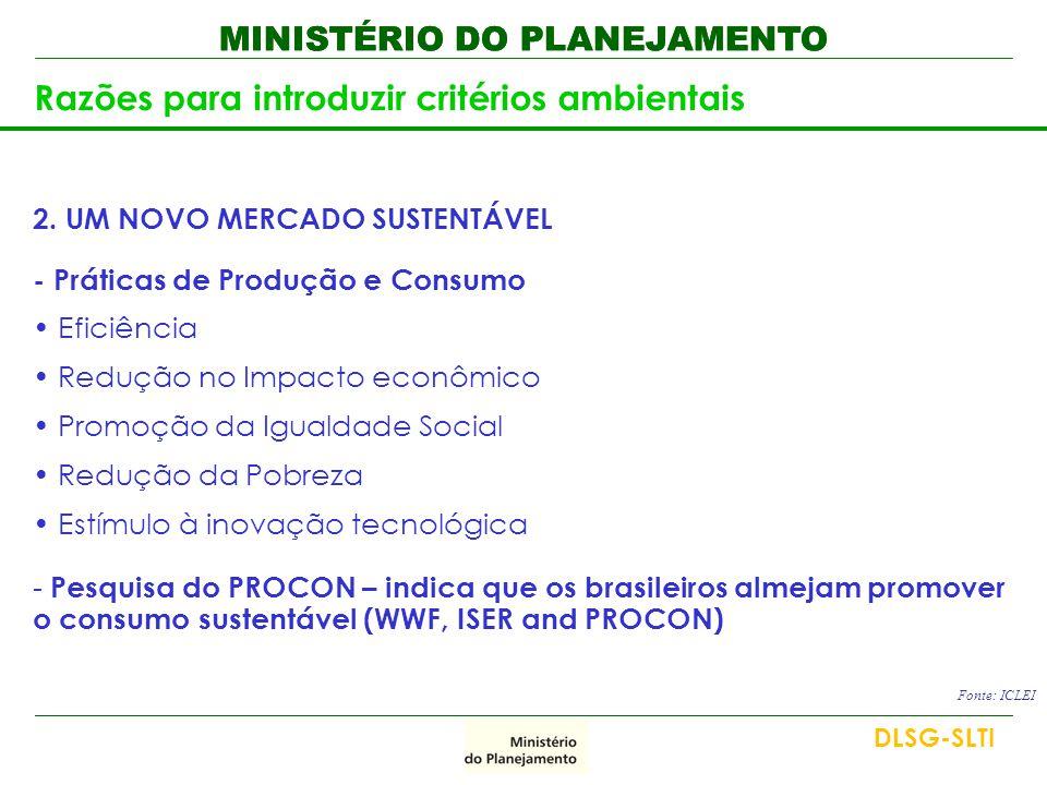 MINISTÉRIO DO PLANEJAMENTO Razões para introduzir critérios ambientais 2. UM NOVO MERCADO SUSTENTÁVEL - Práticas de Produção e Consumo • Eficiência •