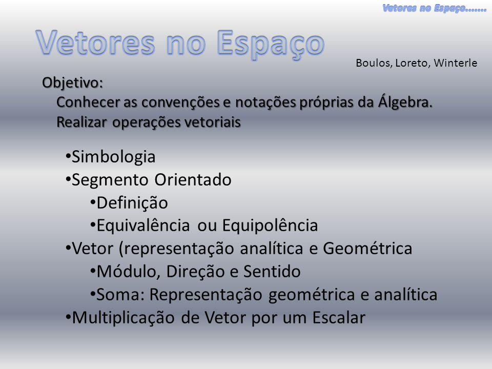 Boulos, Loreto, Winterle Objetivo: Conhecer as convenções e notações próprias da Álgebra.